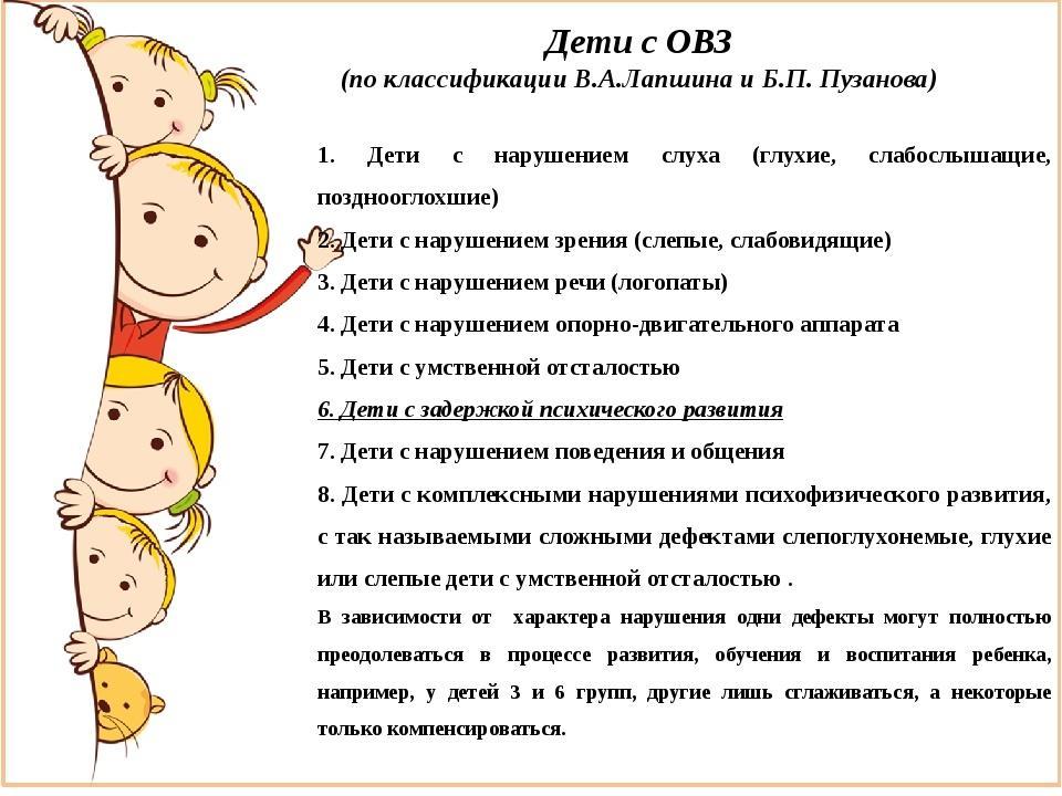 классификация дети с ОВЗ