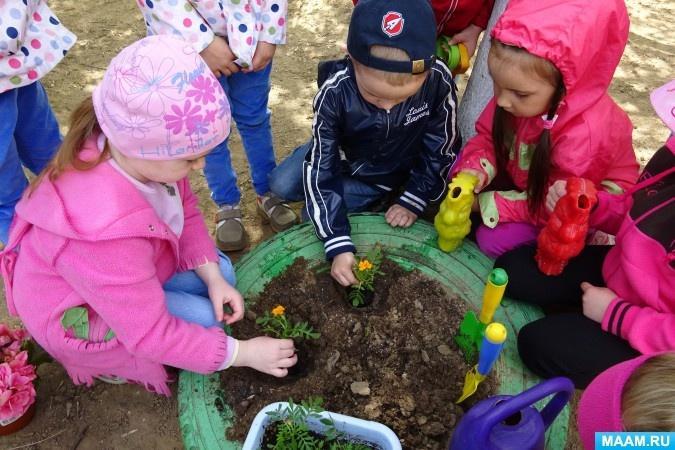 дети садят цветы