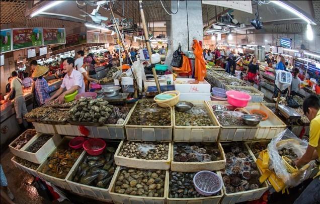 рынок морепродуктов в Китае