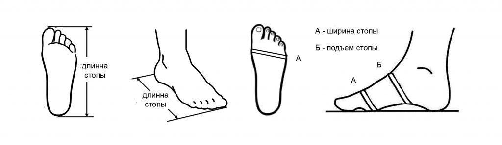 как измерить ширину и подъем стопы