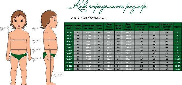 Как определить размер одежды у ребенка
